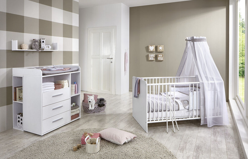 babyzimmer kinderzimmer komplett set babym bel komplettset umbaubar kim 6 wei ebay. Black Bedroom Furniture Sets. Home Design Ideas