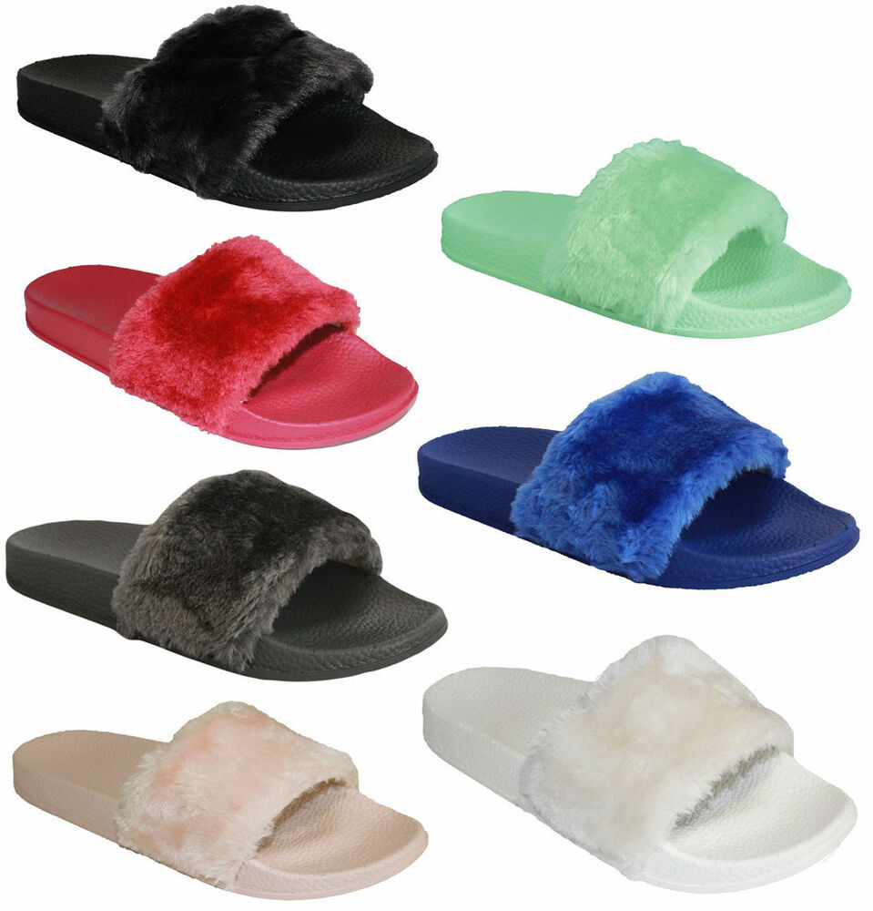 Womens Comfy Faux Fur Trim Rubber Slider Flats Shoes