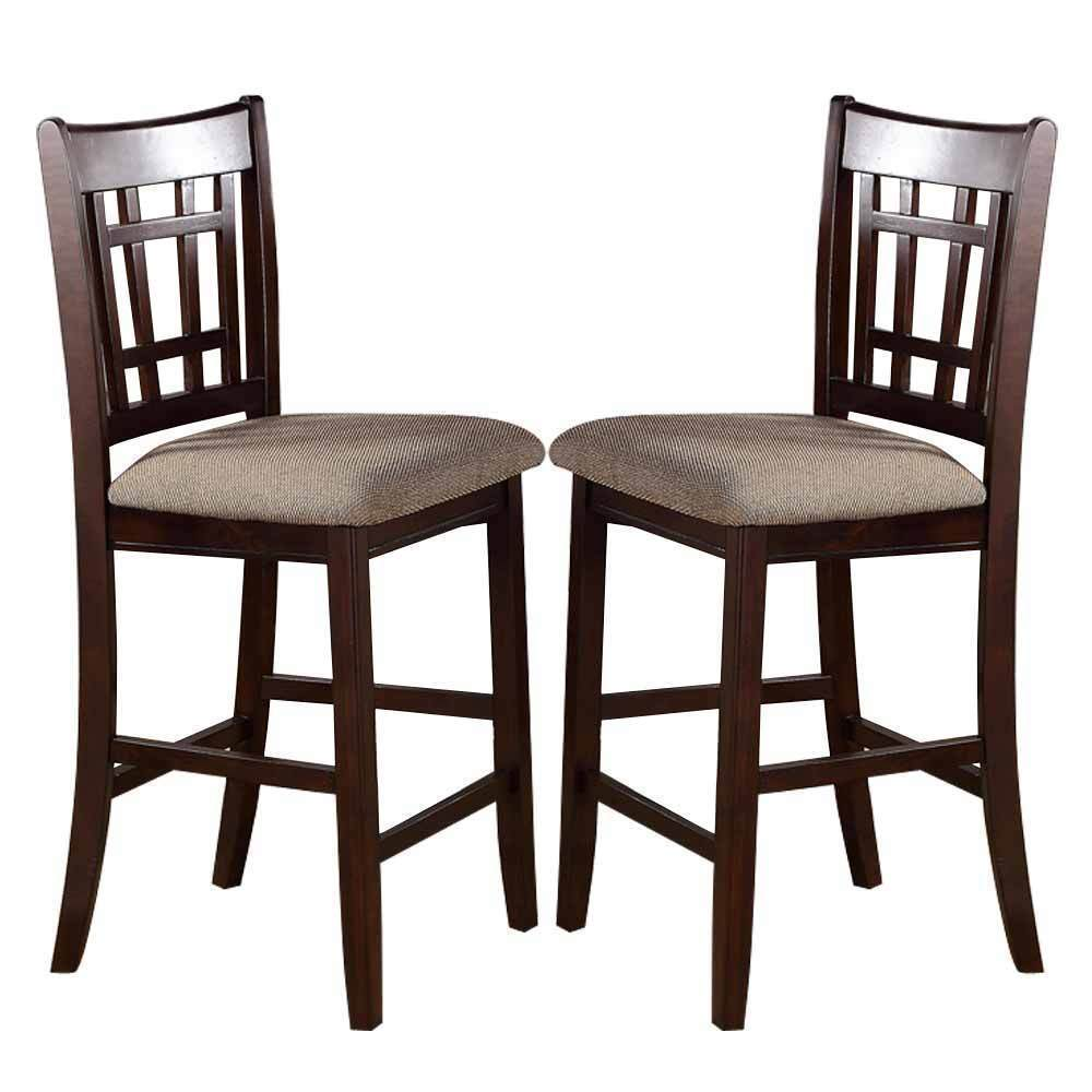 2 Pc Dark Rosy Brown Wood Dining Counter Height High 24