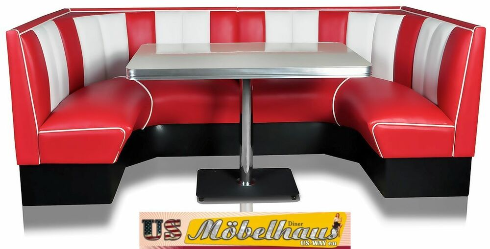 hw120 120red amerikanische m bel dinerbank eckbank diner retro usa gastronomie ebay. Black Bedroom Furniture Sets. Home Design Ideas
