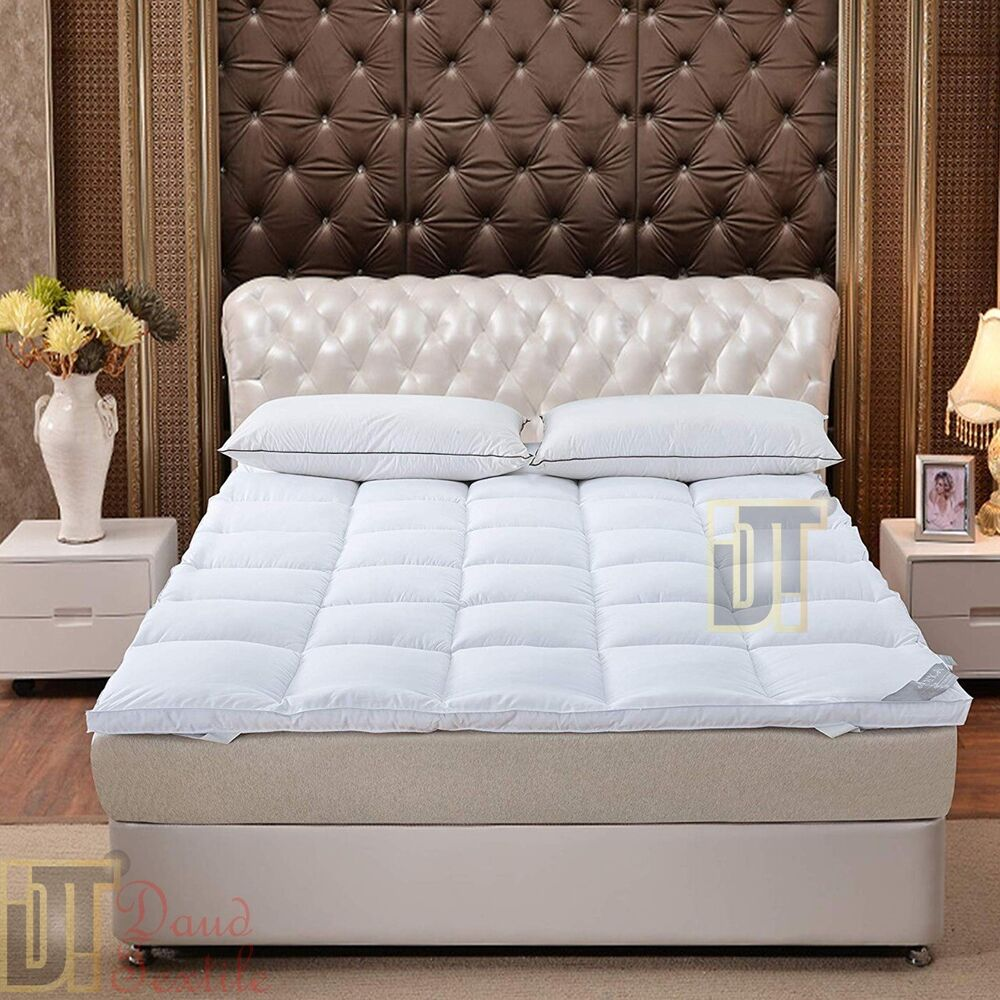 luxury duck feather down mattress topper available all sizes extra thick ebay. Black Bedroom Furniture Sets. Home Design Ideas