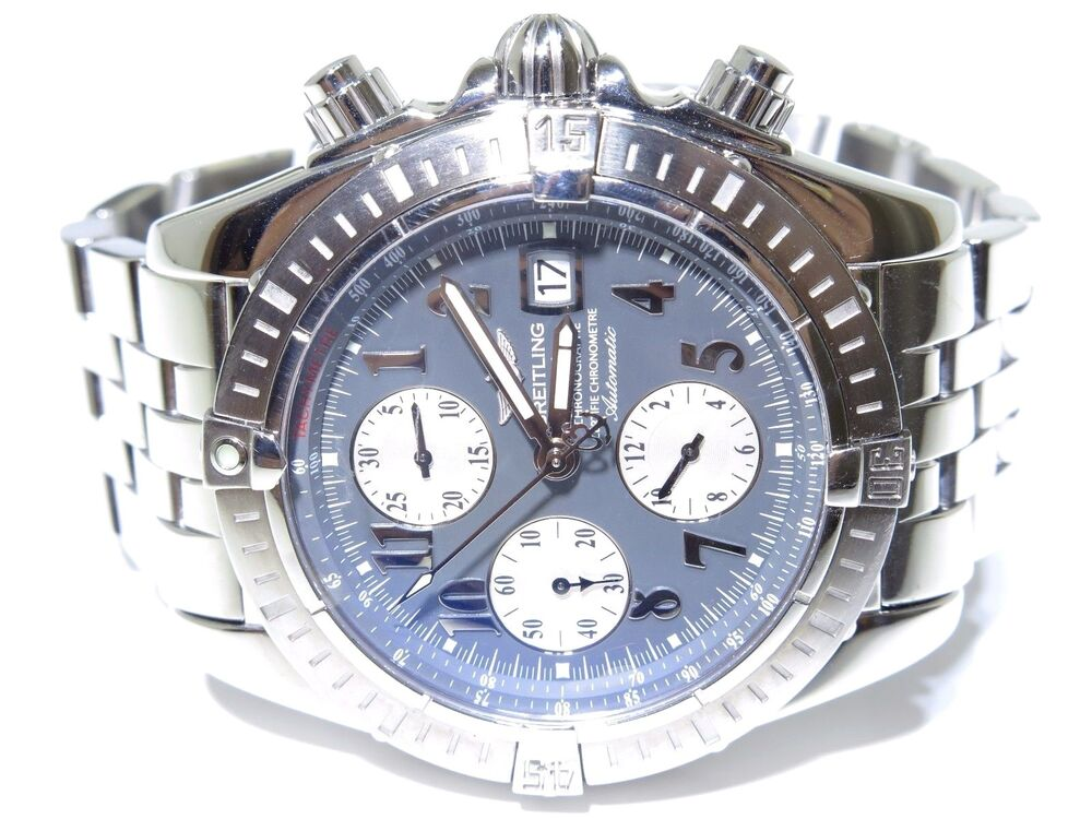 breitling a13356 chronograph automatic tachymetre gray dial pilot watch ebay. Black Bedroom Furniture Sets. Home Design Ideas