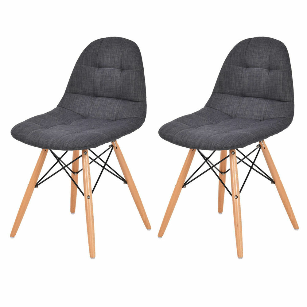 Set Of 2 Mid Century Style Upholstered DSW Dining Side
