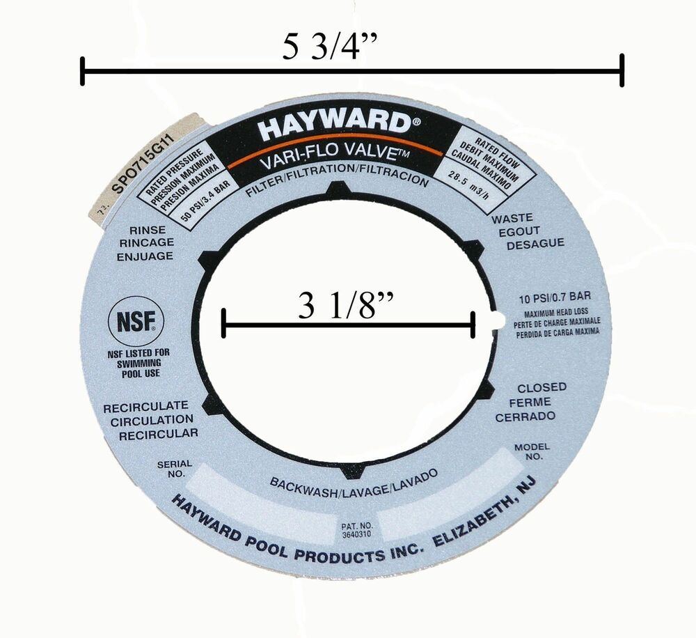 Genuine Replacement Hayward Sand Filter Valve Label Plate