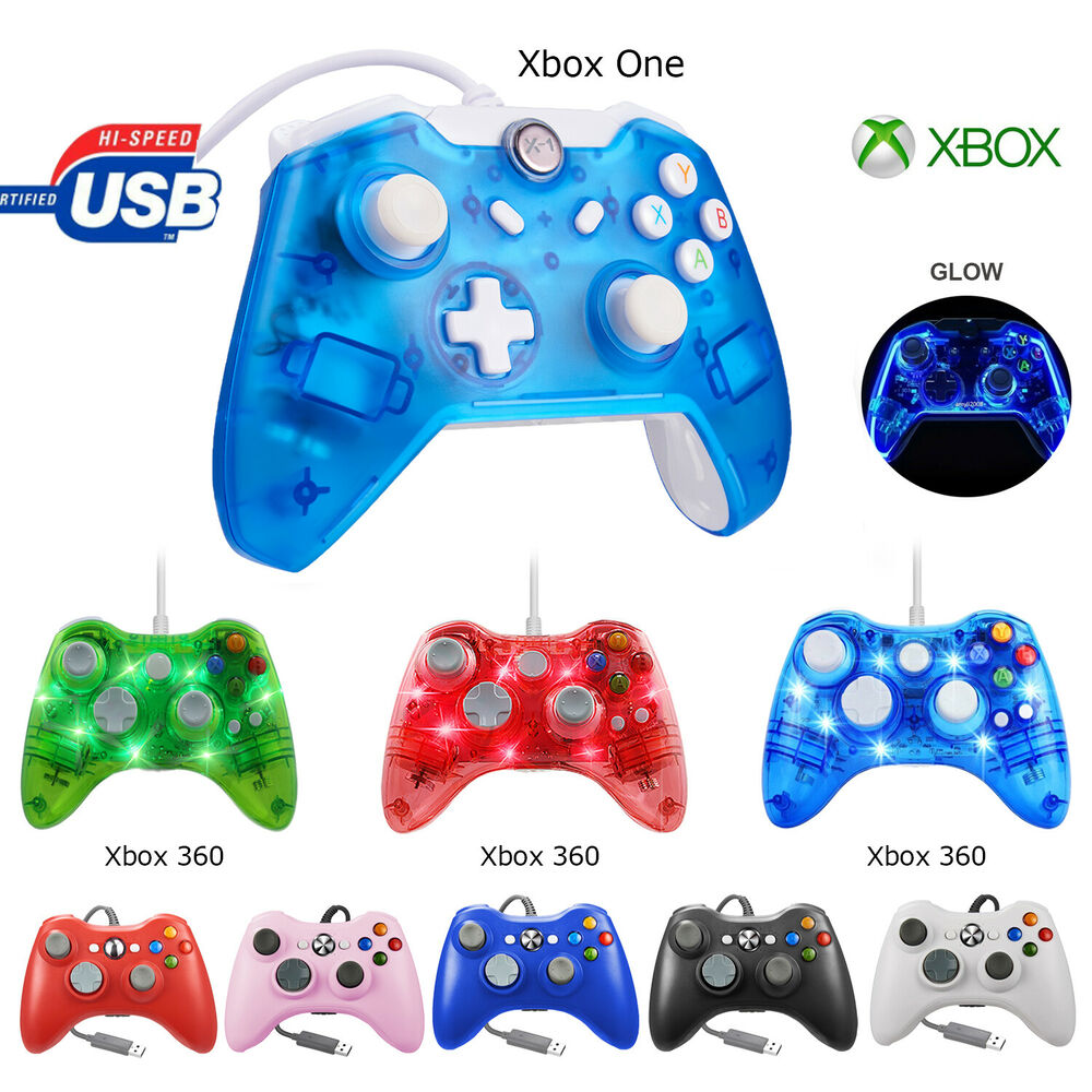 Glow Light USB Wired Remote Controller Gamepad For Xbox One Xbox 360 ...