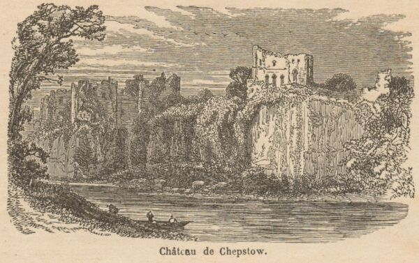Great Steel Engraving Monmouthshire Wales Chepstow Castle Passepartout.1878