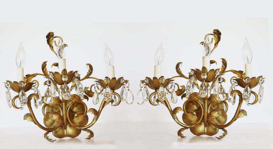 Pair Electric Wall Sconces : Pair Antique Italian Tole Gilt Crystal Electric Wall Sconces eBay
