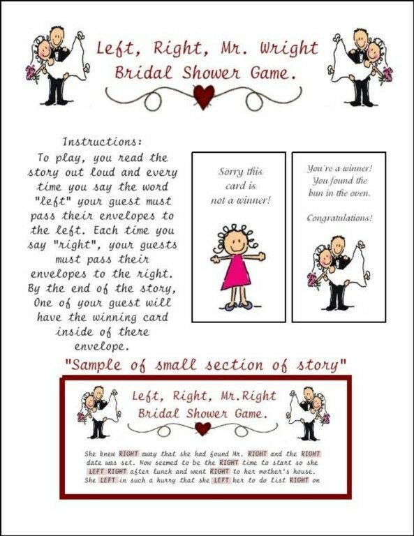Bridal shower left right mr wright envelope pass game for Bridal shower games that aren t cheesy