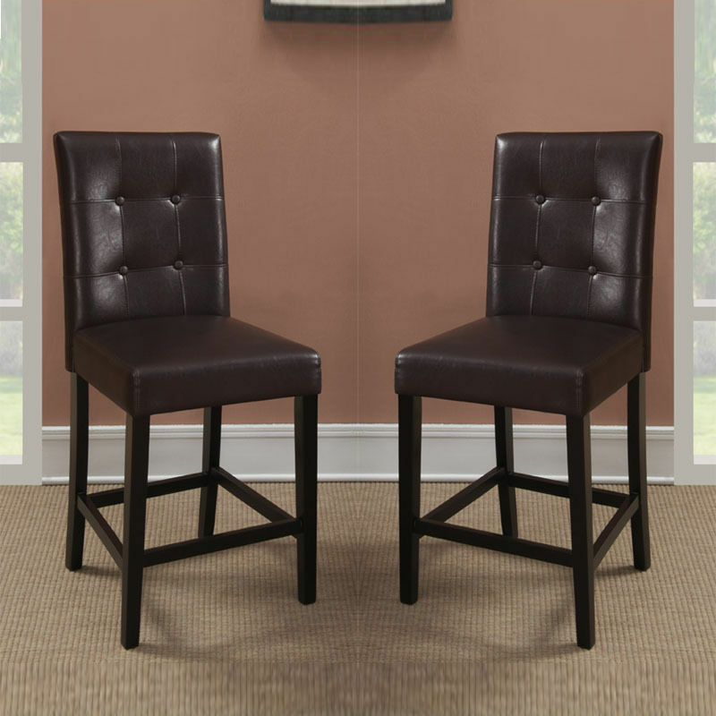Set Of 2 Brown Soft Faux Leather Upholstered Counter