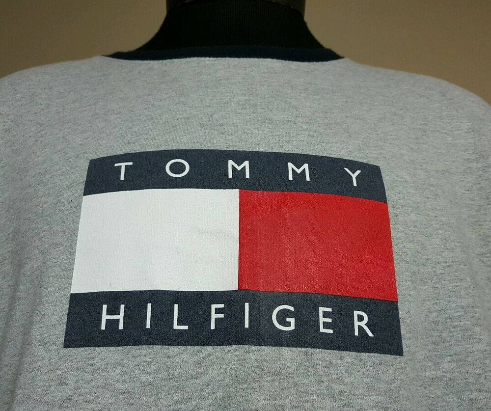 vtg tommy hilfiger t shirt xl box logo spell out 90 39 s flag. Black Bedroom Furniture Sets. Home Design Ideas