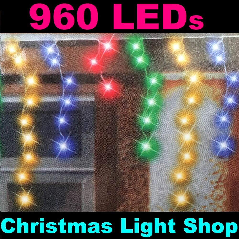 960 MULTICOLOUR LED Flashing ICICLES 23m Hanging Outdoor Christmas Lights Tim