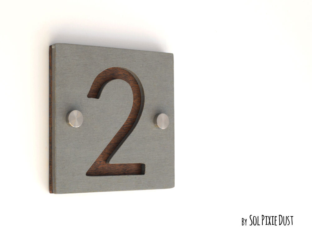 Modern house numbers one number square concrete with wood for Modern house numbers