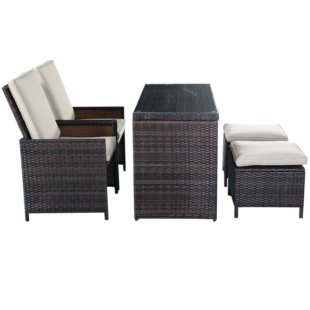 5pc Brown Cushioned Ottoman Rattan Wicker Patio Set