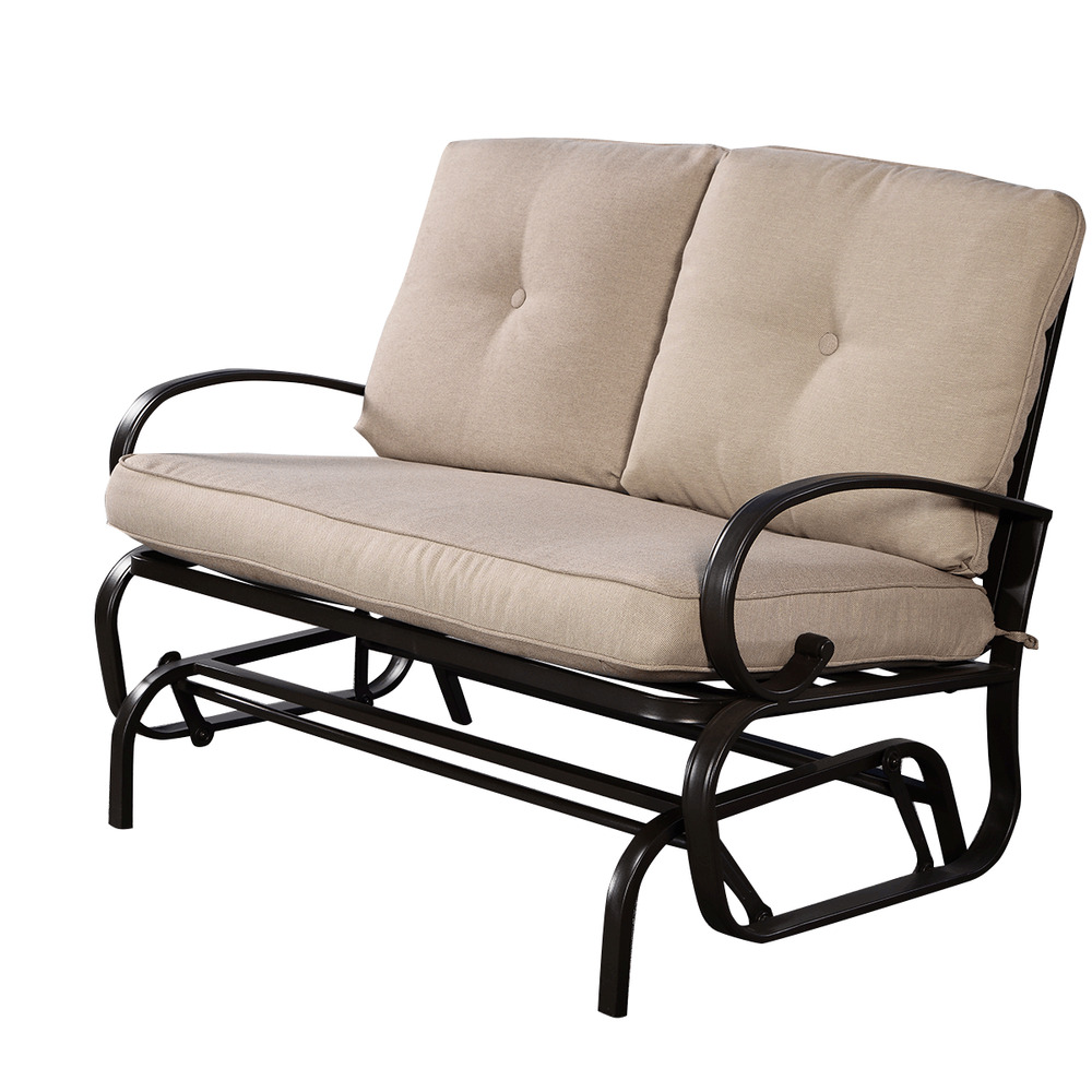 Glider outdoor patio rocking bench loveseat cushioned seat steel frame new ebay Garden loveseat