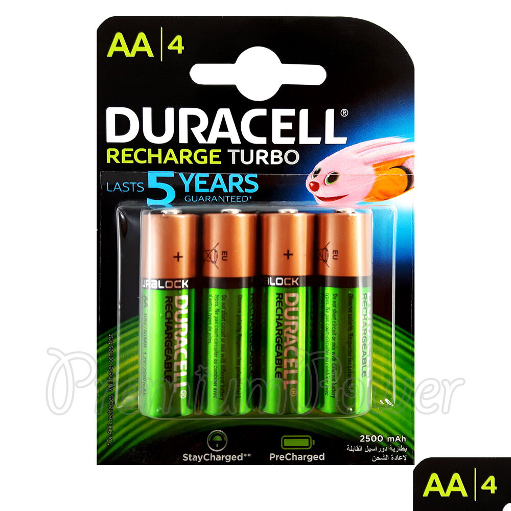 4 x duracell rechargeable aa batteries 2500 mah replaces 2400 duralock nimh hr6 ebay. Black Bedroom Furniture Sets. Home Design Ideas