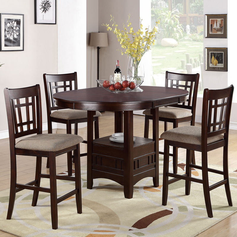 5 PC Dark Rosy Brown Counter Height Dining Set Round