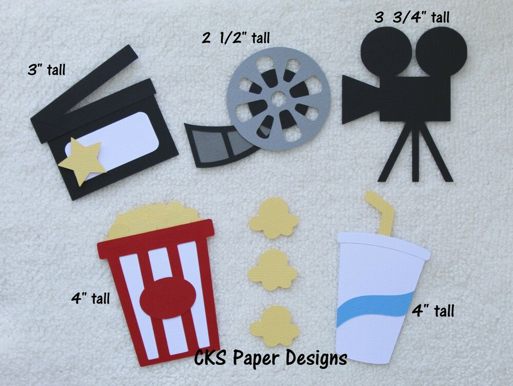 Die cut movie night popcorn drink clapper film reel for Where to buy contact paper for crafts
