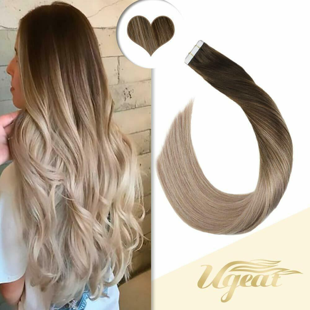 Balayage Ombre Dark Brown To Blonde Remy Seamless Tape In