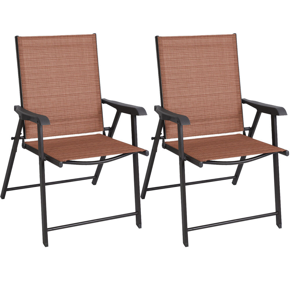 2 pcs patio folding sling chairs furniture camping deck for Deck furniture