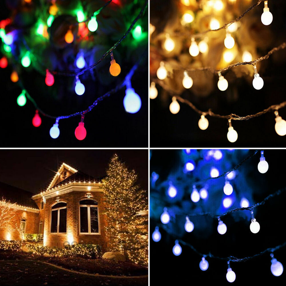 Led string lights ball fairy light party christmas indoor for Outdoor christmas lights