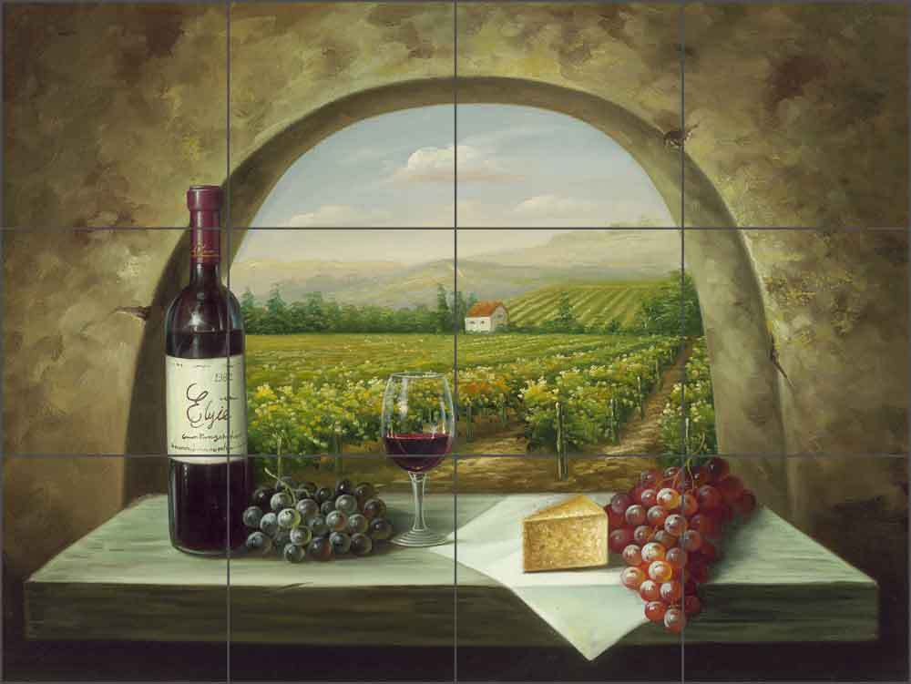 Ceramic tile mural backsplash ching wine grape vineyard for Backsplash mural
