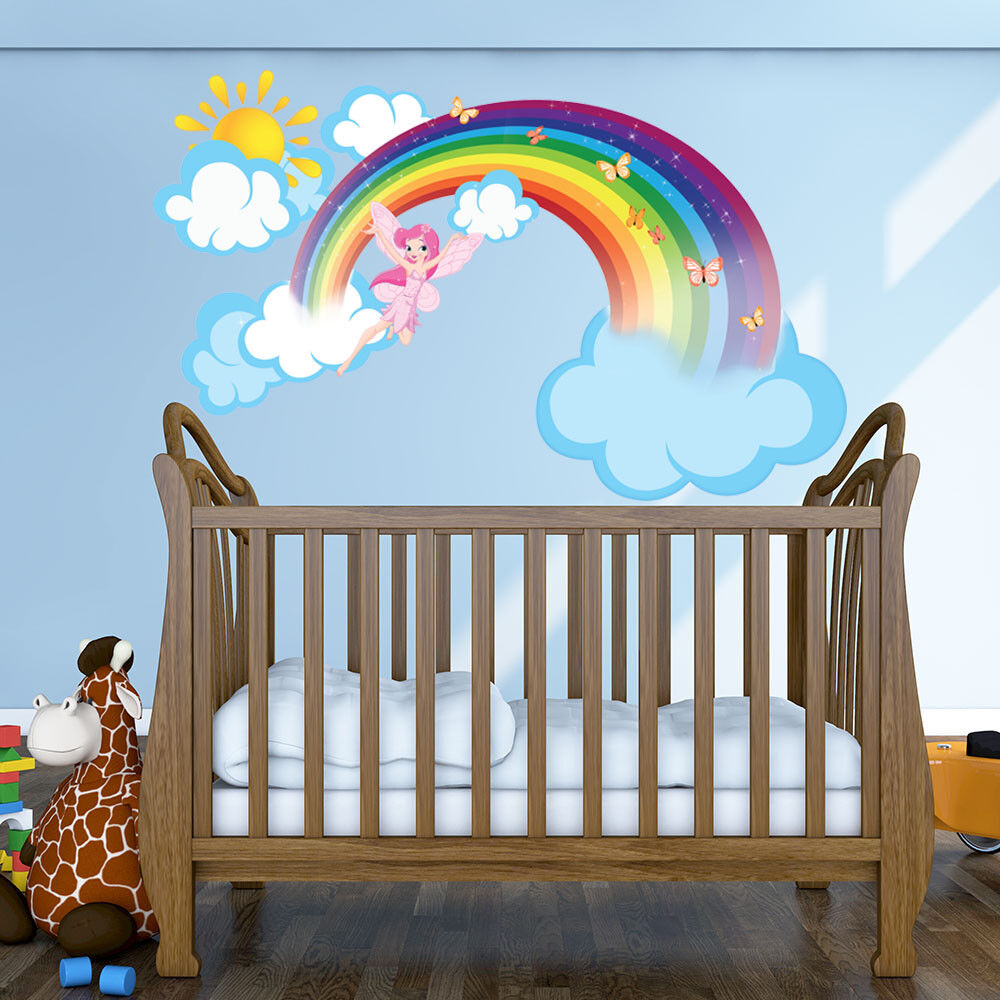Rainbow Fairy Wall Decal With Clouds And Sun Girl S Room