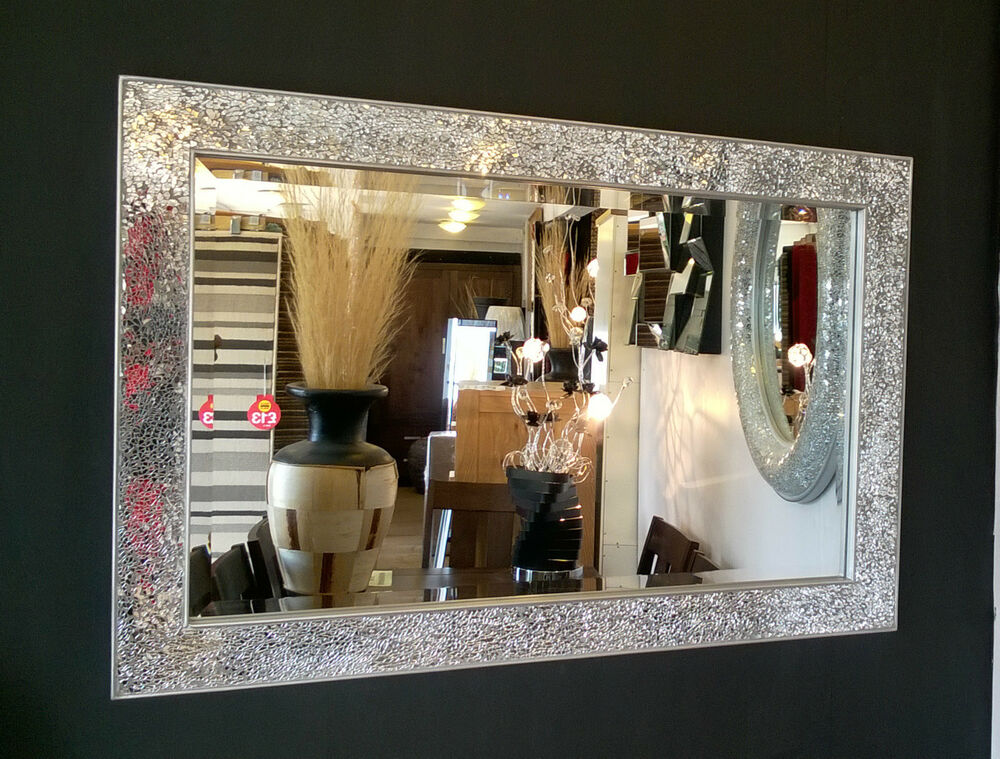 Crackle Design Wall Mirror Bevelled Edge Silver Frame