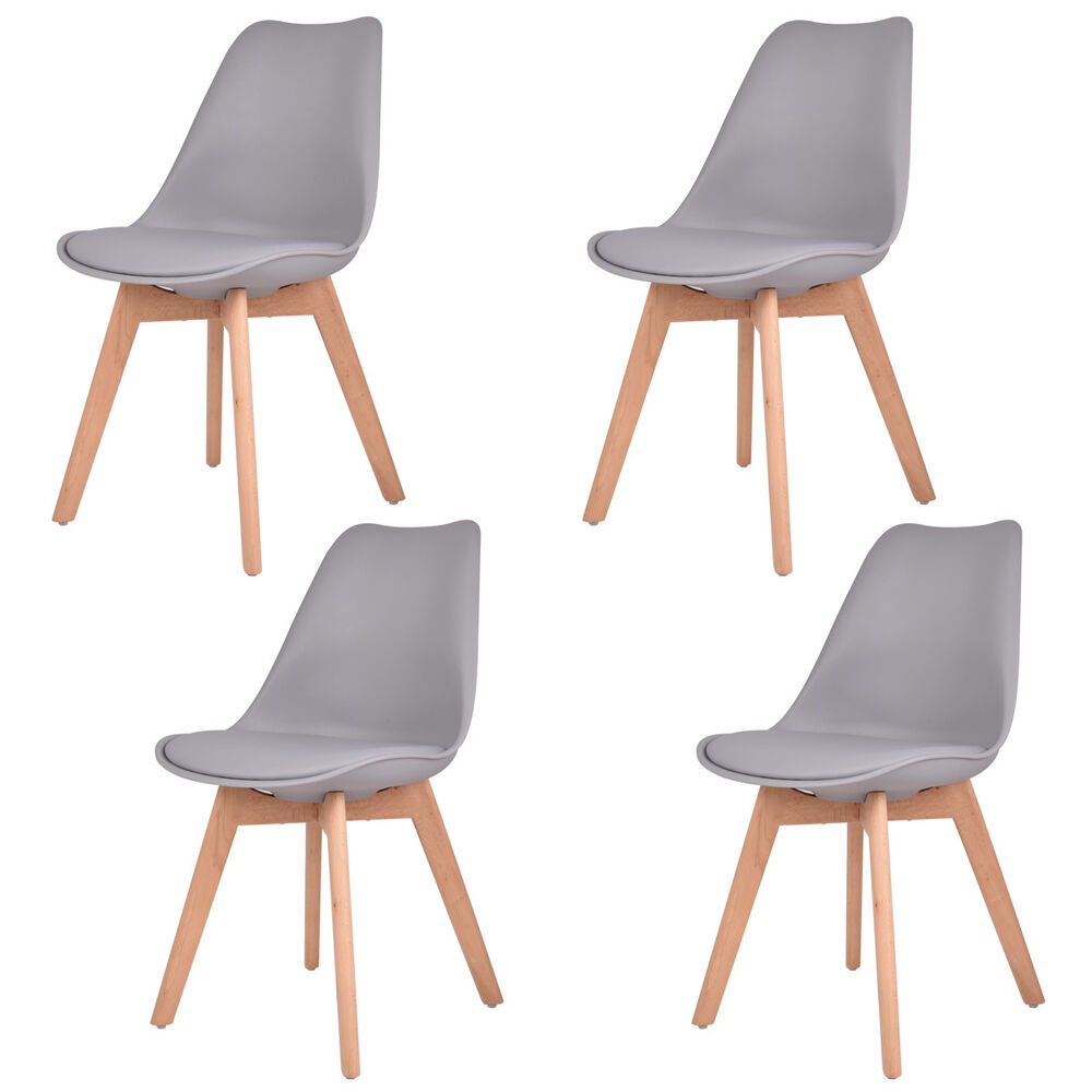 Set Of 4 Mid Century Modern Eames Style Dining Side Chair
