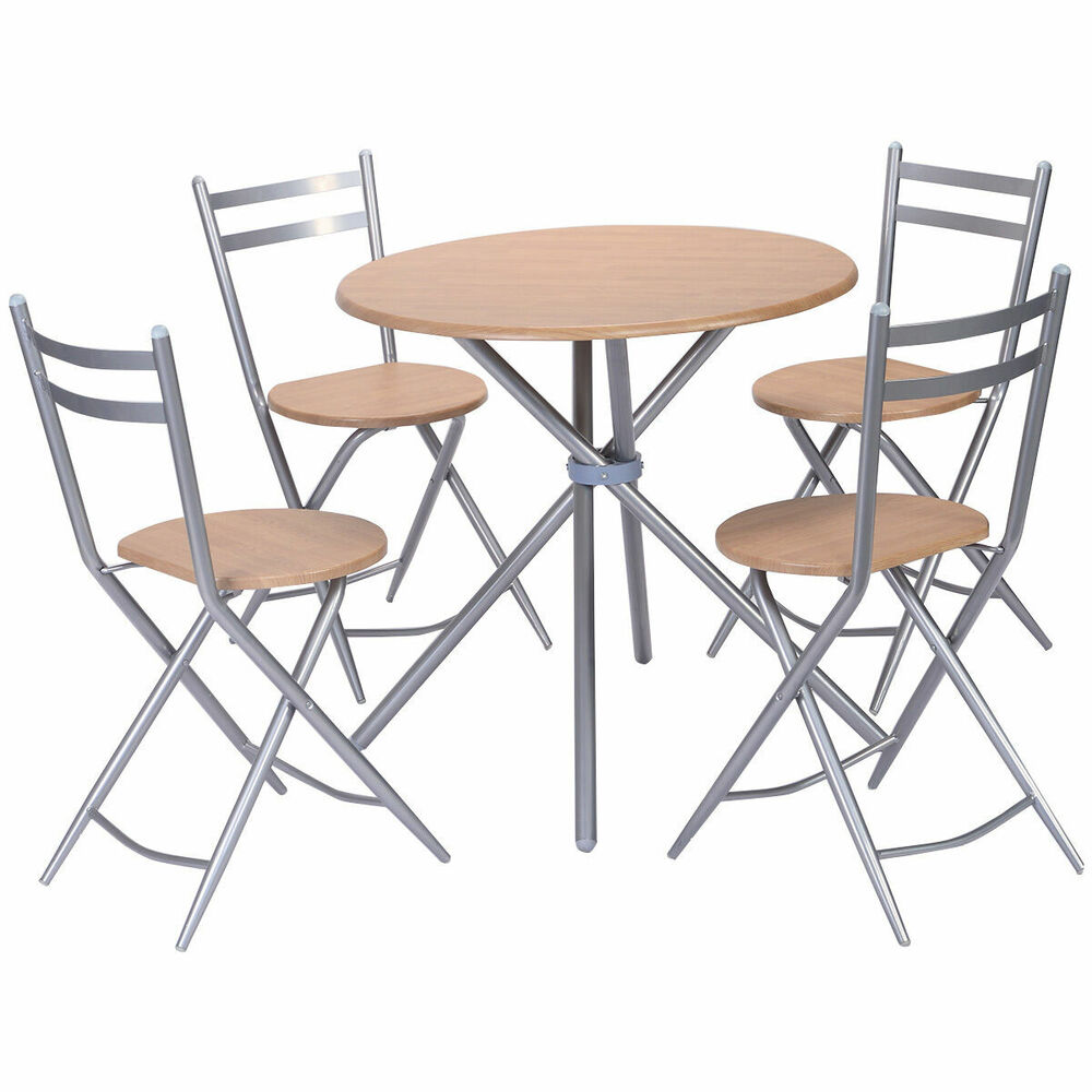 5 PCS Folding Round Table Chairs Set Furniture Kitchen