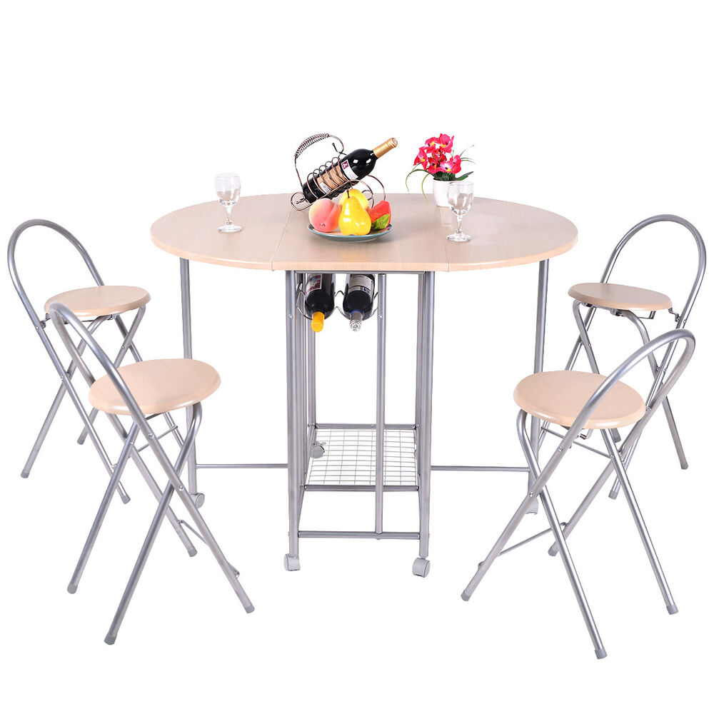 5pcs foldable dining set table and 4 chairs breakfast for Breakfast table and chairs