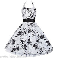 PRETTY KITTY WHITE FLORAL PROM ROCKABILLY COCKTAIL EVENING DRESS 8-26 FREE POST!