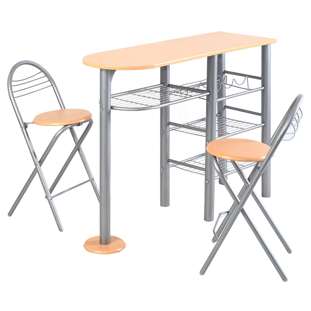 Pub Dining Set Counter Height 3 PCS Table And Chairs Set