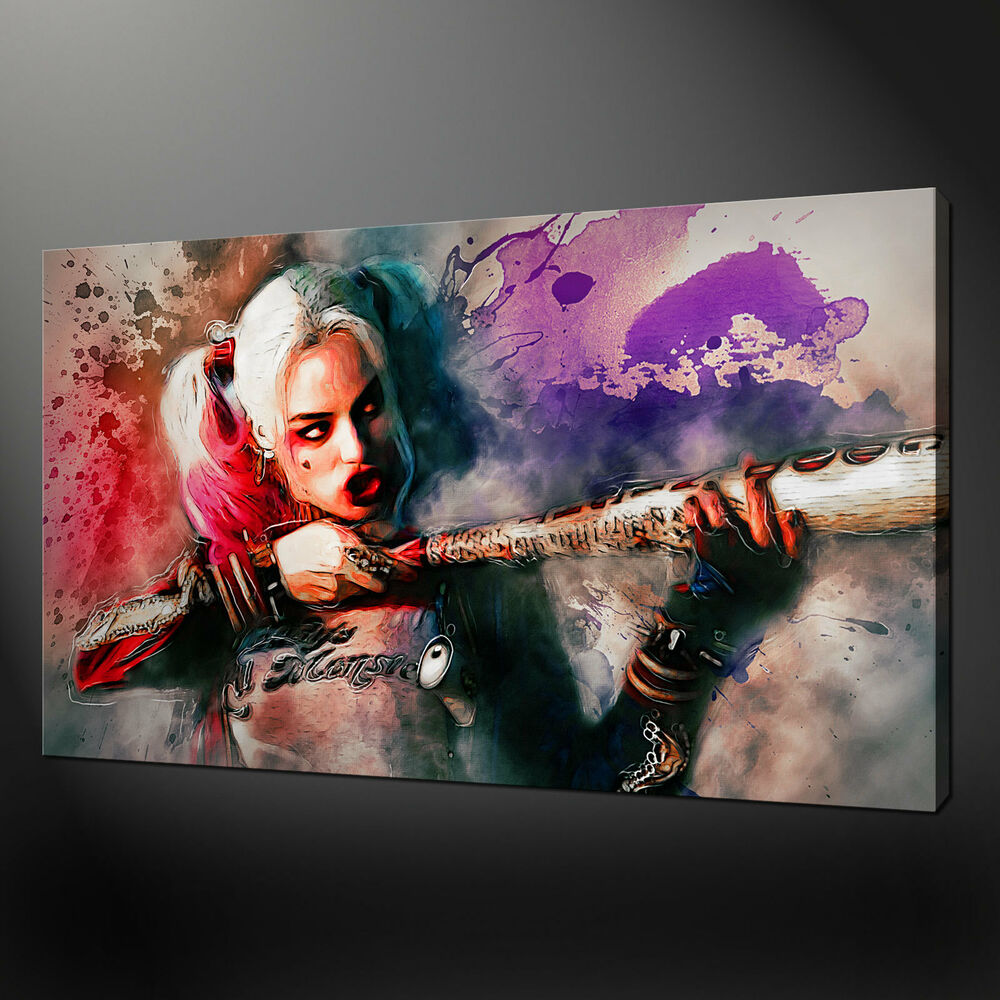harley quinn suicide squad canvas wall art picture print variety of sizes ebay. Black Bedroom Furniture Sets. Home Design Ideas