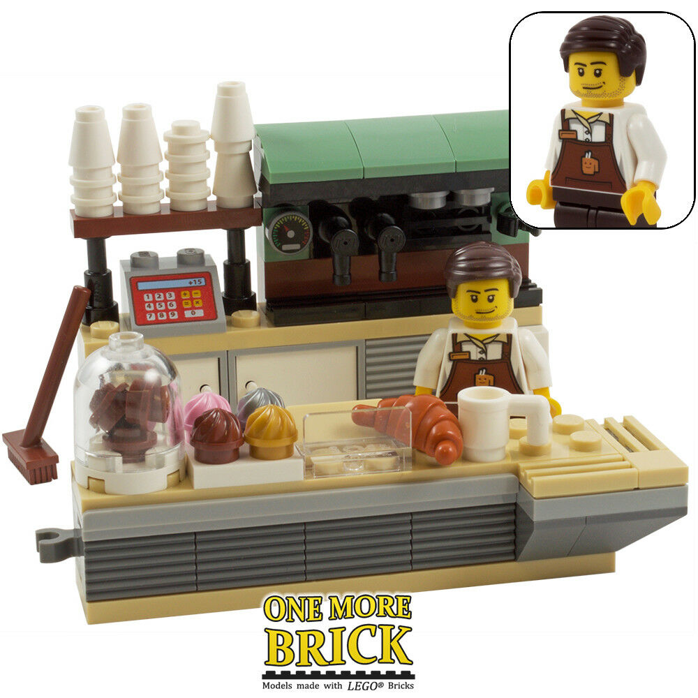 Lego Toy Food : Lego coffee shop minifigure cafe food bakery