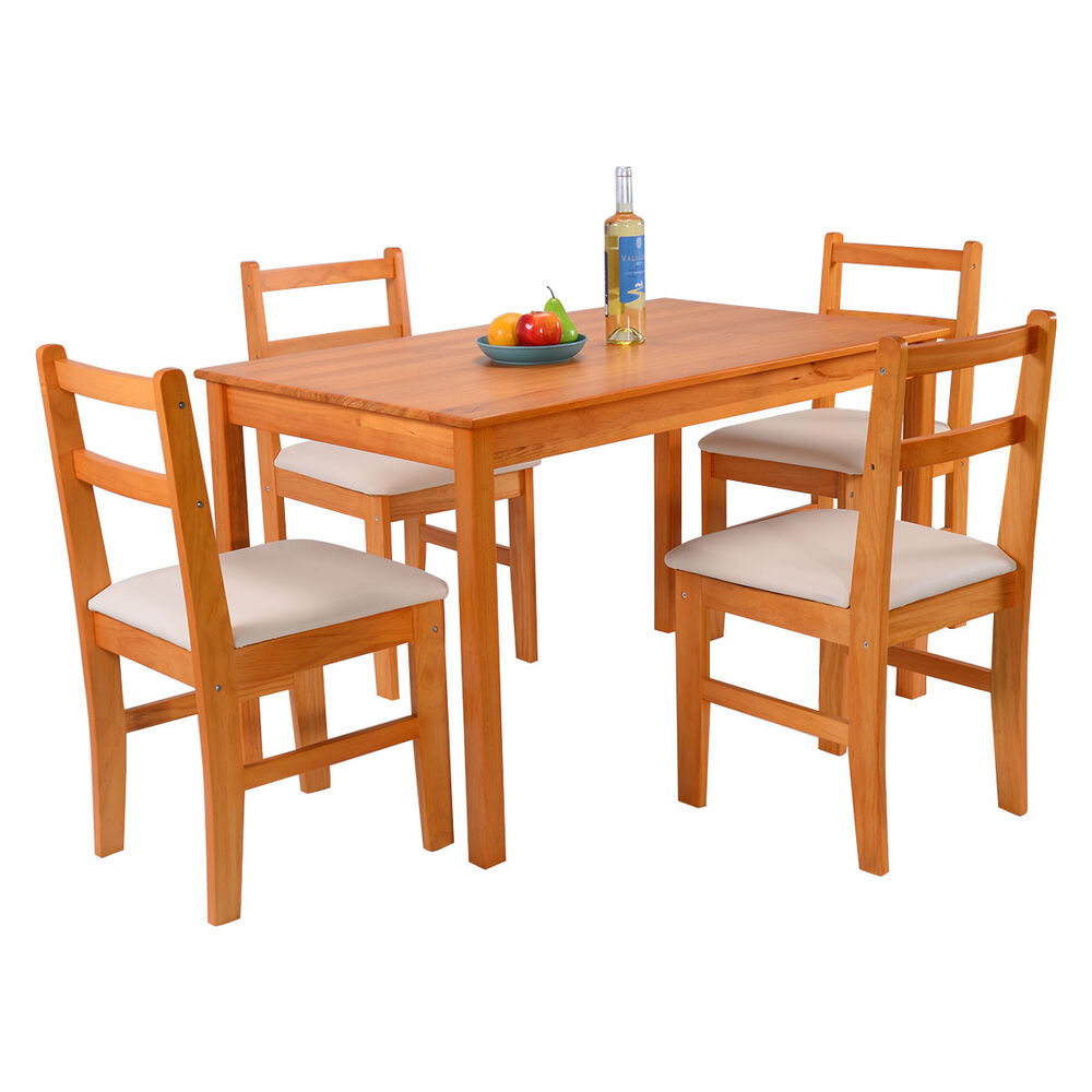 5 Pcs Pine Wood Dining Set Table And 4 Upholstered Chair