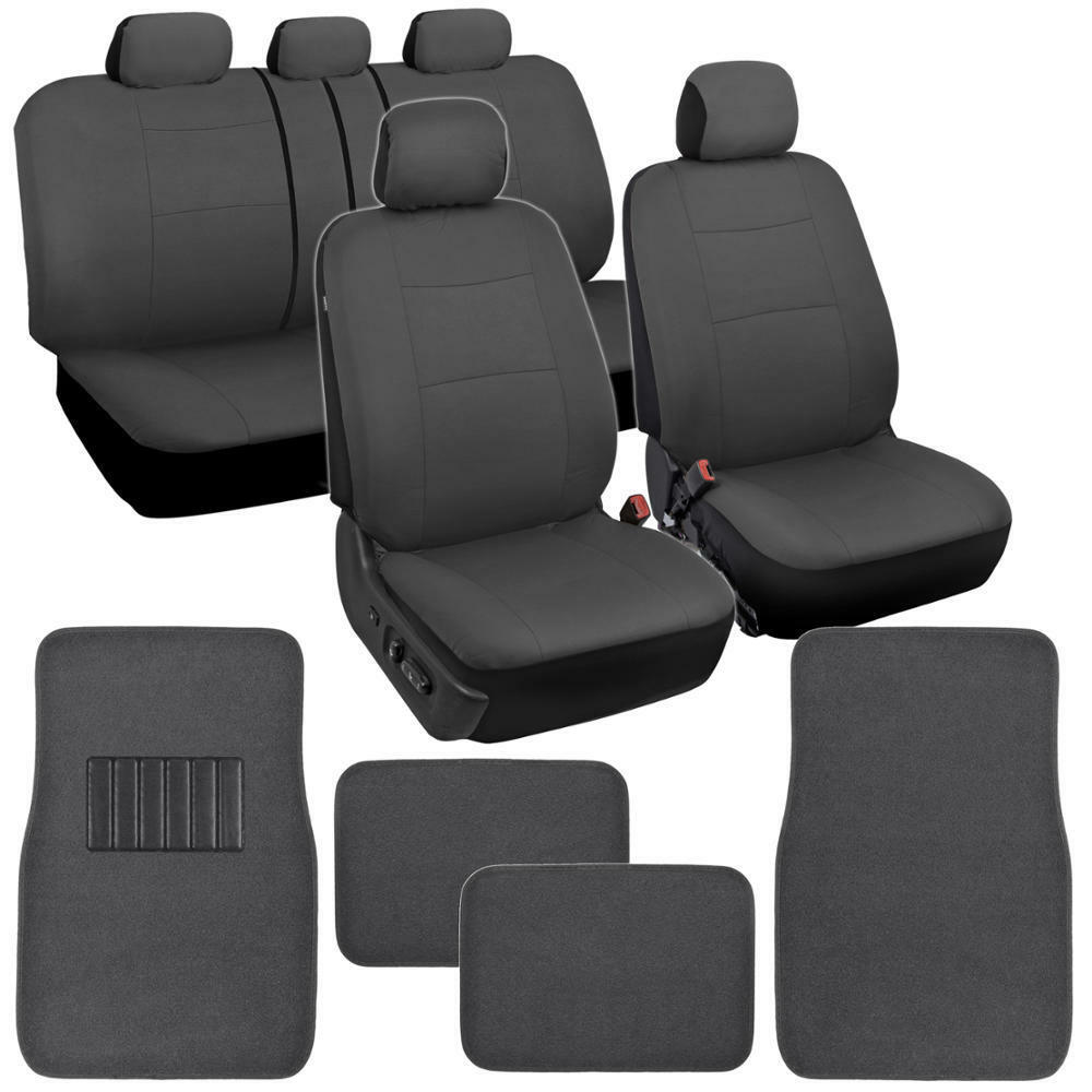 Car Seat Covers Set All Gray W/ Carpet Padded Floor Mats