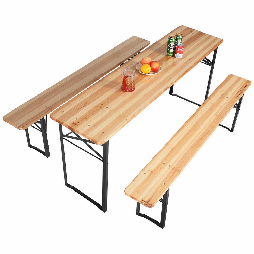 3 Pcs Beer Table Bench Set Folding Wooden Top Picnic Table