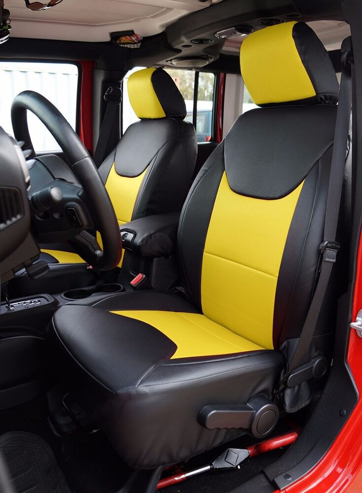 jeep wrangler 2013 2016 black yellow s leather custom made fit front seat cover ebay. Black Bedroom Furniture Sets. Home Design Ideas