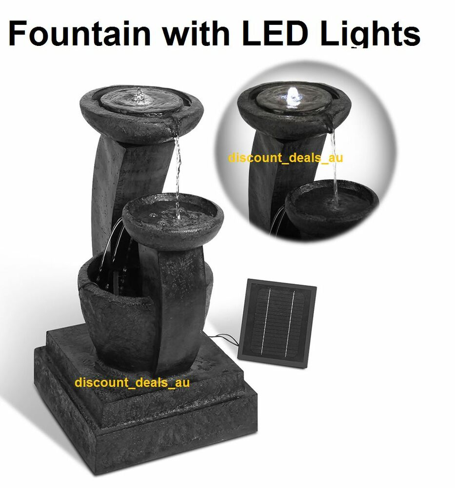 fountain water feature outdoor bird bath solar powered. Black Bedroom Furniture Sets. Home Design Ideas
