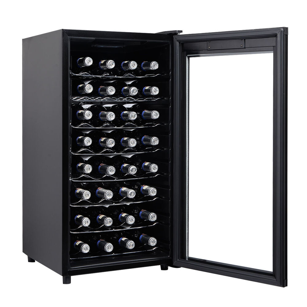 wine fridge cabinet 32 bottles wine cooler fridge cellar storage holder 29305