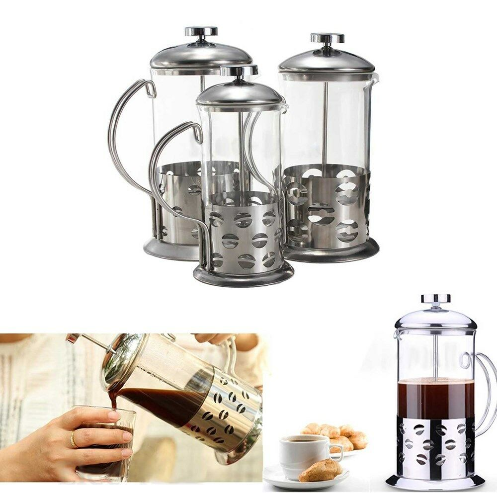 stainless steel glass french presses coffee tea maker cafetiere filter plunger ebay. Black Bedroom Furniture Sets. Home Design Ideas