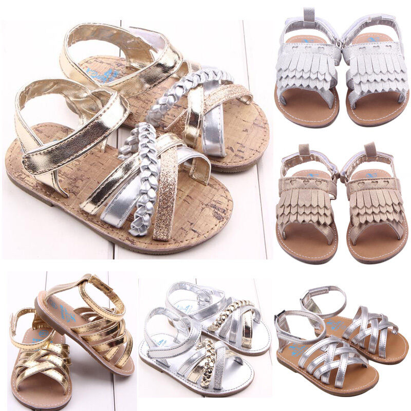 82ff8a625 Details about Cute Infants Kids Girls Summer Sandals Toddler Baby Princess  Soft Sole Shoes