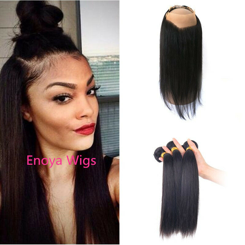 Peruvian Straight Hair 360 Lace Frontal Closure Lace Band Frontal With