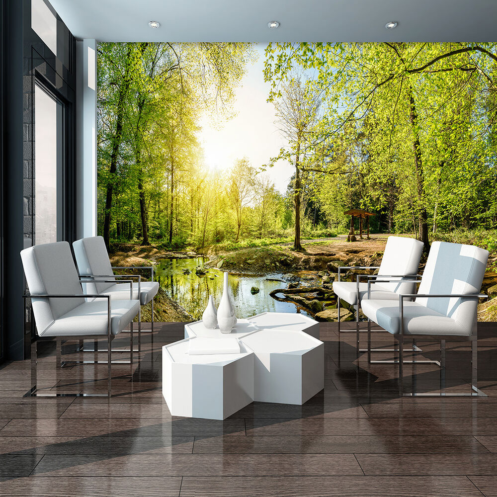 vlies fototapeten fototapete tapete wald natur baum rinnsal wasser 3fx10508ve ebay. Black Bedroom Furniture Sets. Home Design Ideas