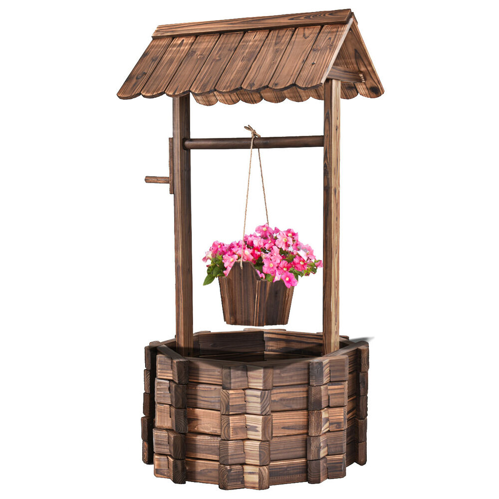 Well Decor: Outdoor Wooden Wishing Well Bucket Flower Plants Planter