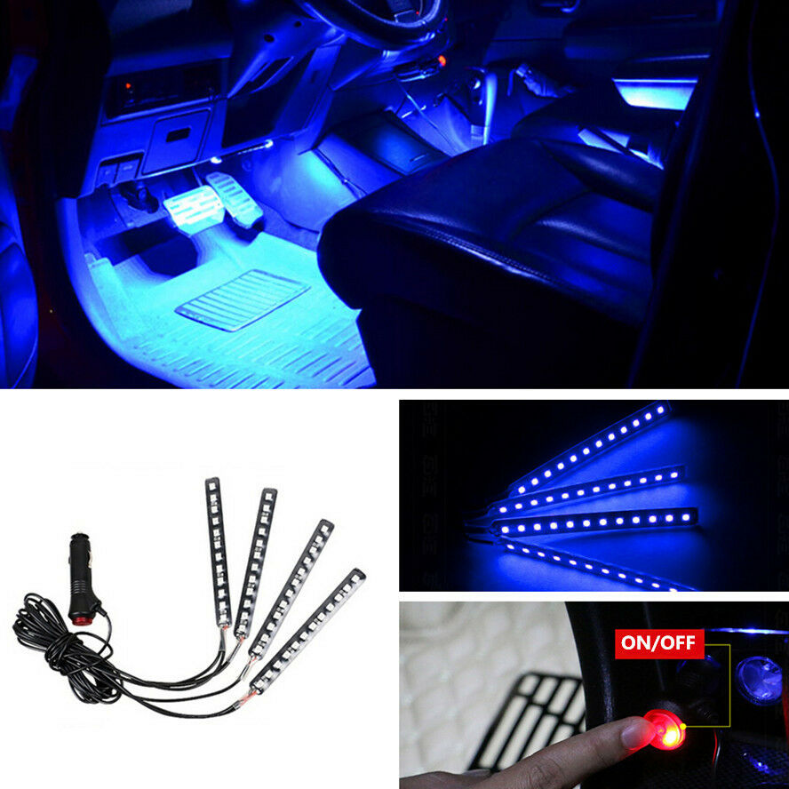 12 led blue car cigarette lighter atmosphere light decor neon interio lamp strip ebay. Black Bedroom Furniture Sets. Home Design Ideas