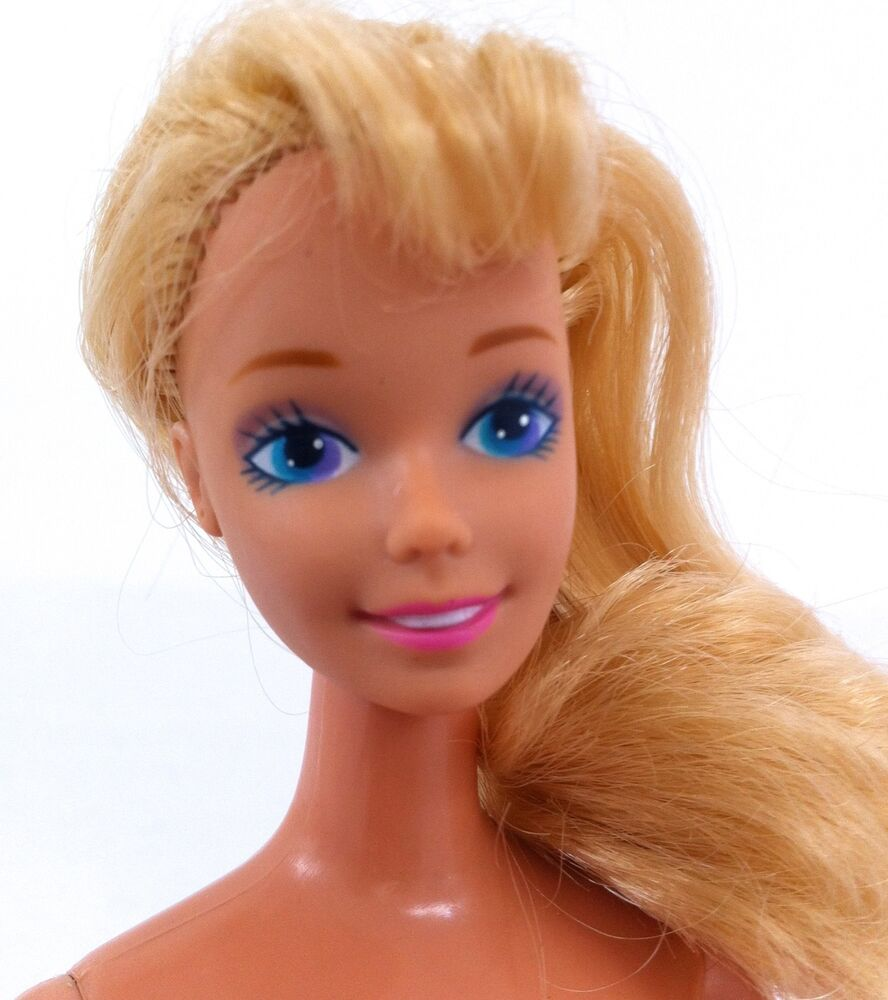 Nude Barbie Blue Hair Repro Vintage Face Nude Articulated