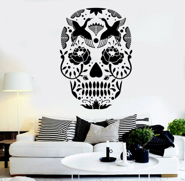 Vinyl Wall Decal Calavera Sugar Skull Mexican Art Stickers (ig3852)