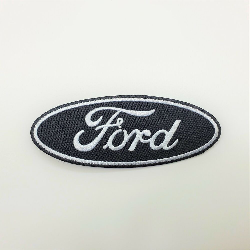 Built Ford Tough Logo >> FORD BLACK OVAL LOGO IRON-ON PATCH Mustangs, Econoline, F150 | eBay