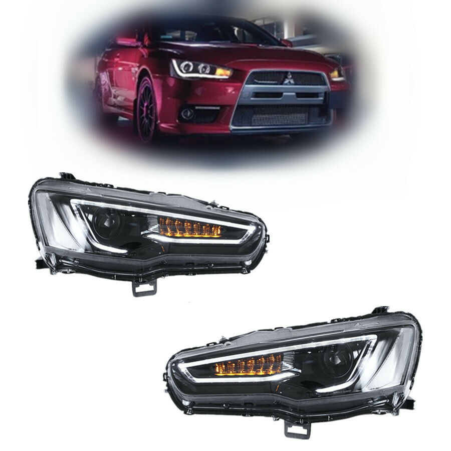 Details About Audi Look Blackout Headlights For Mitsubishi Lancer Evo X 2008 2017 Dual Beam